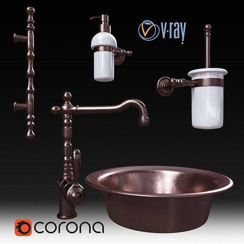 set migliore and faucet fiore 3d model low-poly max obj fbx mtl 1