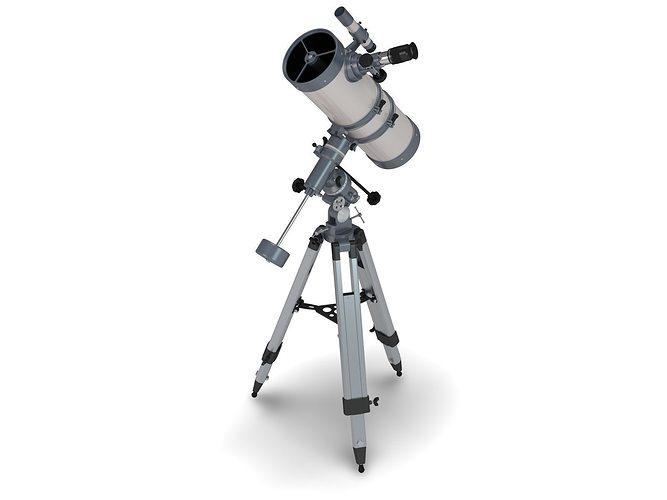 reflector telescope 3d model rigged blend 1