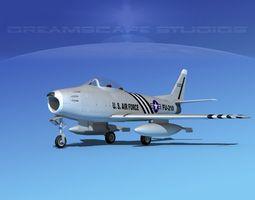north american f-86 sabre jet v03 usaf 3d rigged