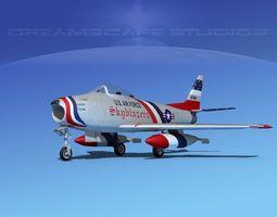 3d rigged north american f-86 sabre jet v06 usaf
