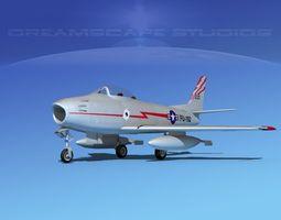 3d rigged north american f-86 sabre jet v07 usaf