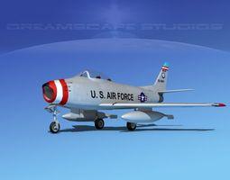 north american f-86 sabre jet v08 ma ang 3d model rigged