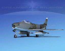 3d model north american f-86 sabre jet germany rigged