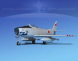 rigged north american f-86 sabre jet v17 turkey 3d model