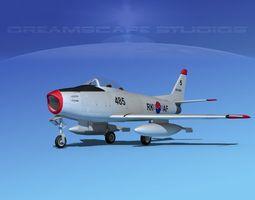 north american f-86 sabre jet v19 rkaf rigged 3d model