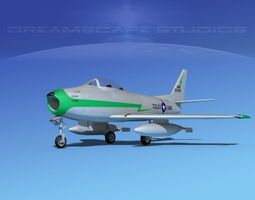 rigged north american f-86 sabre jet v23 col ang 3d model