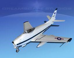 3d model rigged north american f-86 sabre jet nasa