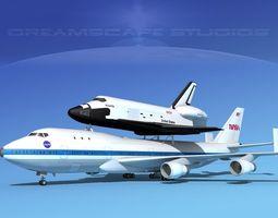 sts shuttle atlantis transport mp 2-2 747  3d model rigged