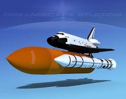 3d model rigged space shuttle challenger  launch lp 1-4