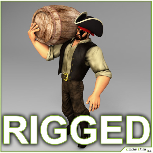Cartoon Male Pirate Rigged3D model