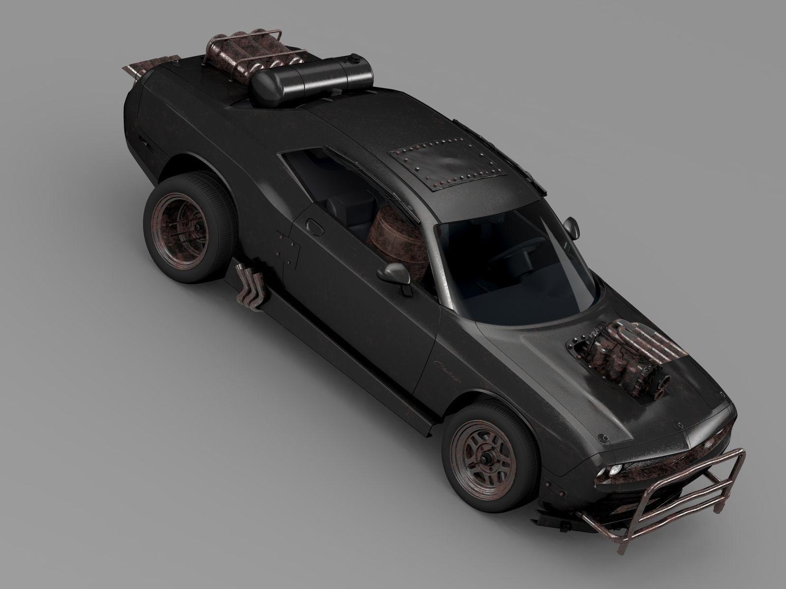 Mad Max Fight Interceptor Dodge Challenger 2015 3d Model Obj Mtl Engine Diagram 3ds Fbx C4d Lwo