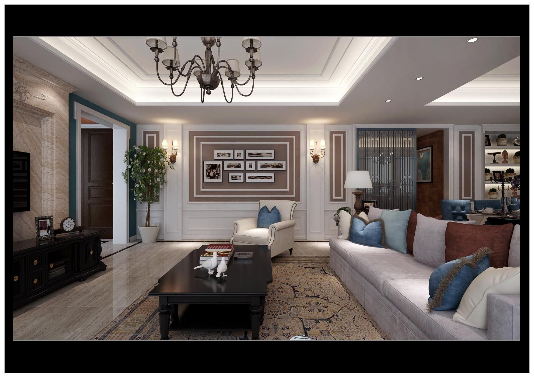 Realistic living room design 42 3d model max for Living room 3d model
