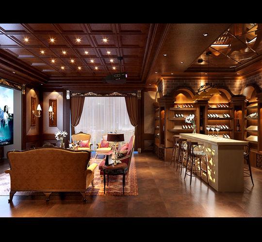 Realistic Lounge Room Design 69 3d Model Max