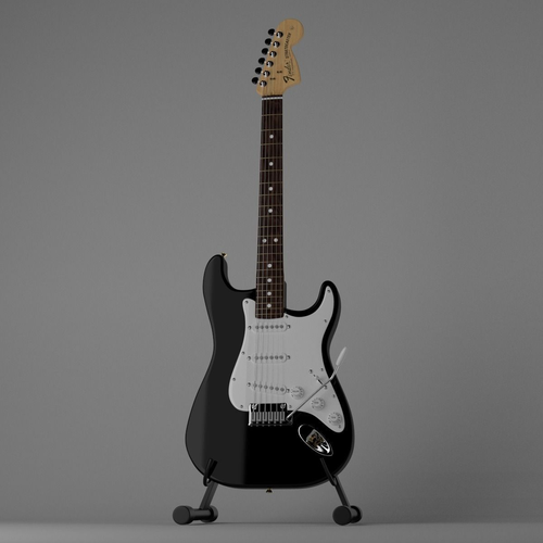 Fender Stratocaster with Stand3D model