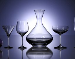 3D Wine Glasses and Carafe