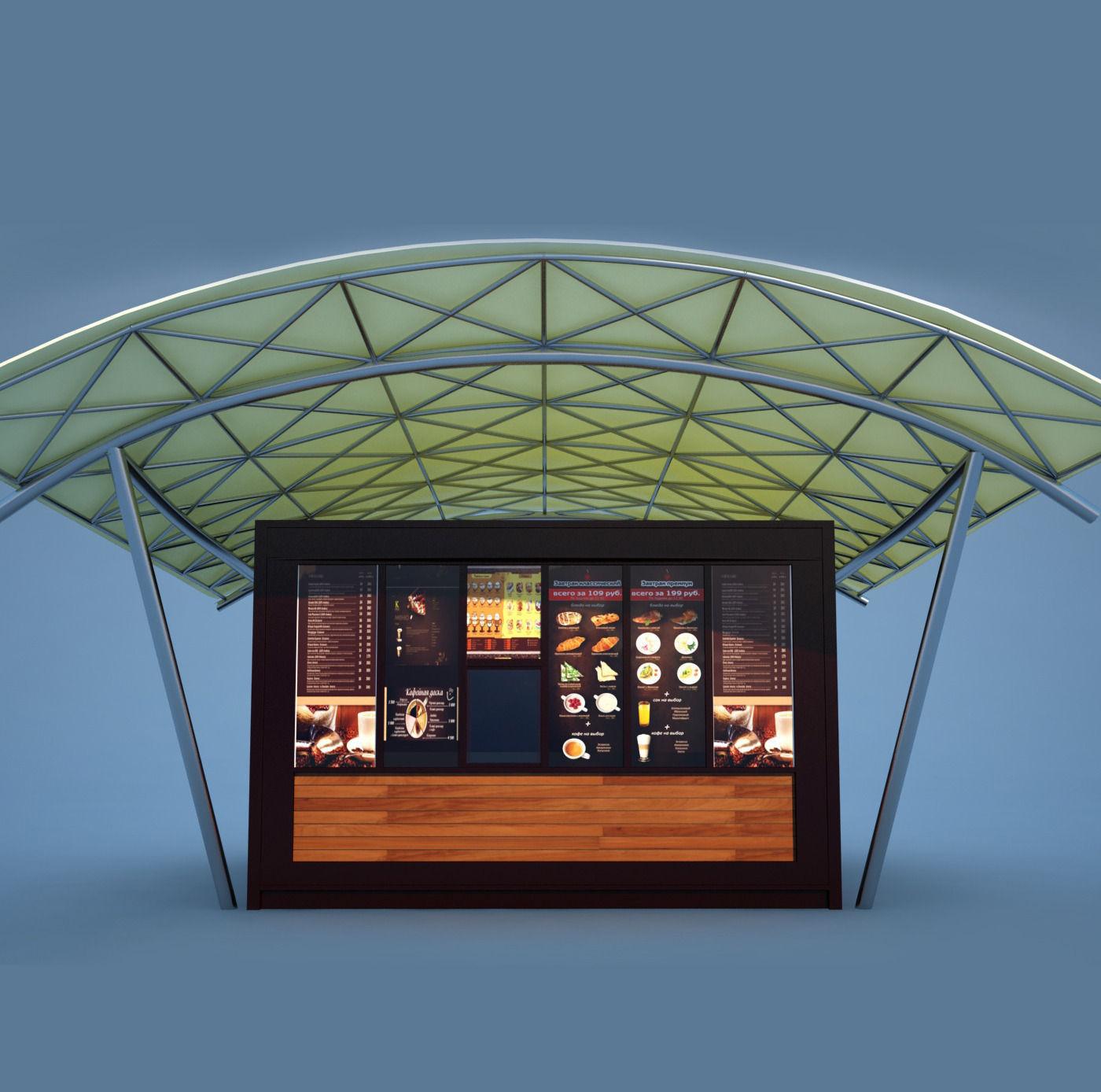 Coffee kiosk 3d model max for Exterior 3d model
