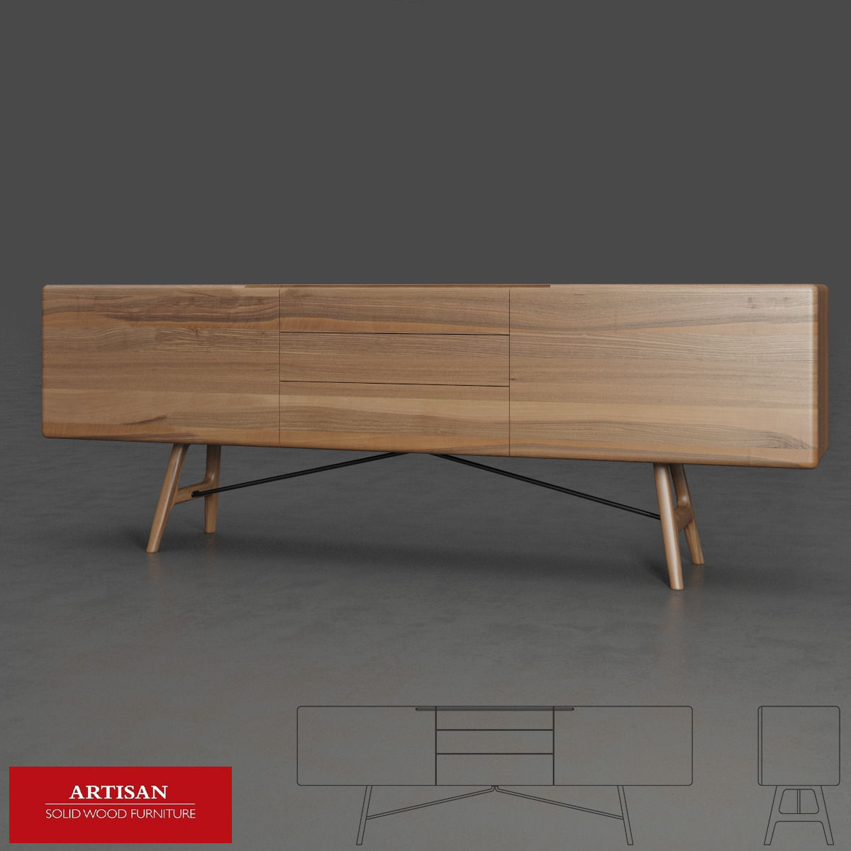 Artisan tesa sideboard 3d model obj for Sideboard 3d