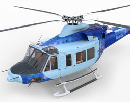 Bell 412 EP with Cockpit 3D Model