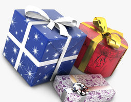 wrapped gifts 3d