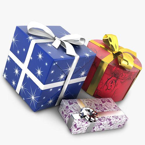 wrapped gifts 3d model obj mtl 3ds fbx c4d 1