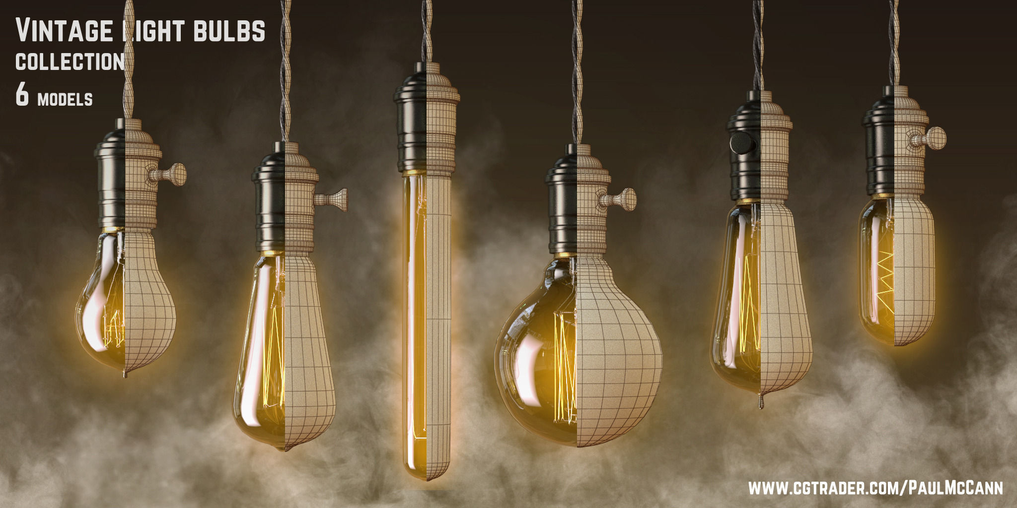 Vintage Edisson Light Bulbs Collection 3d Model Max Obj