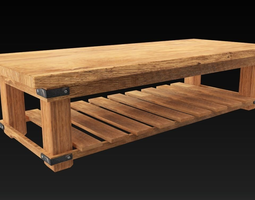 3D asset Hard Wood Table