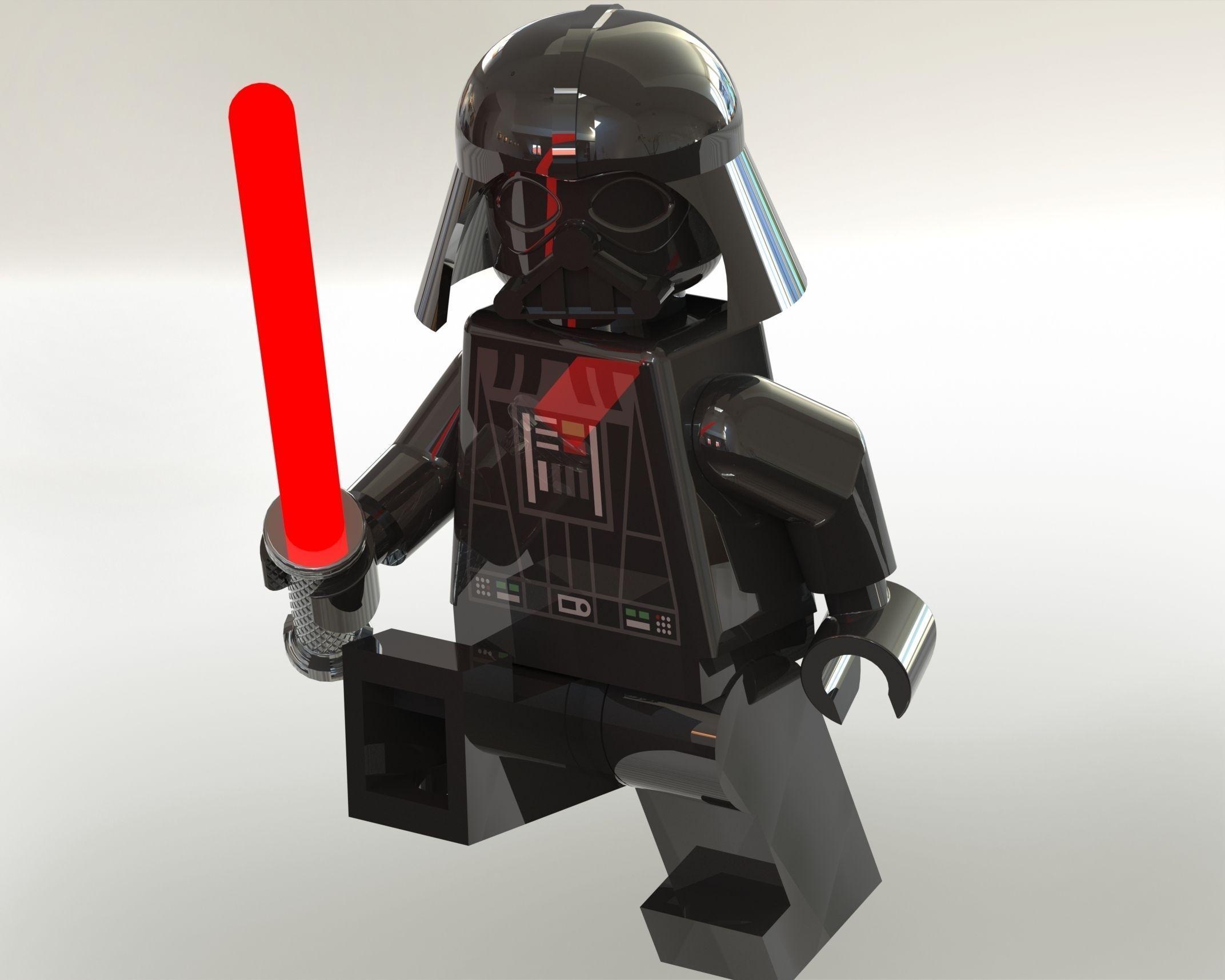 darth vader lego minifigure 3d model sldprt sldasm