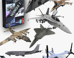 Wings I 8 Modern Military Aircraft 3D Model