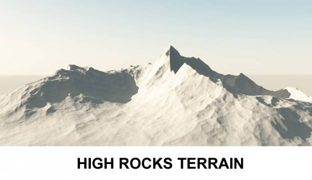 3d Terrain High Rocks 3D Model .obj .3ds .lwo .lw .lws .c4d