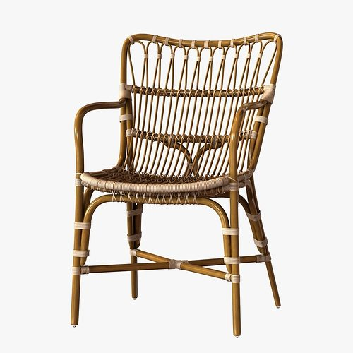 Retro Rattan Dining Arm Chair 3D Model