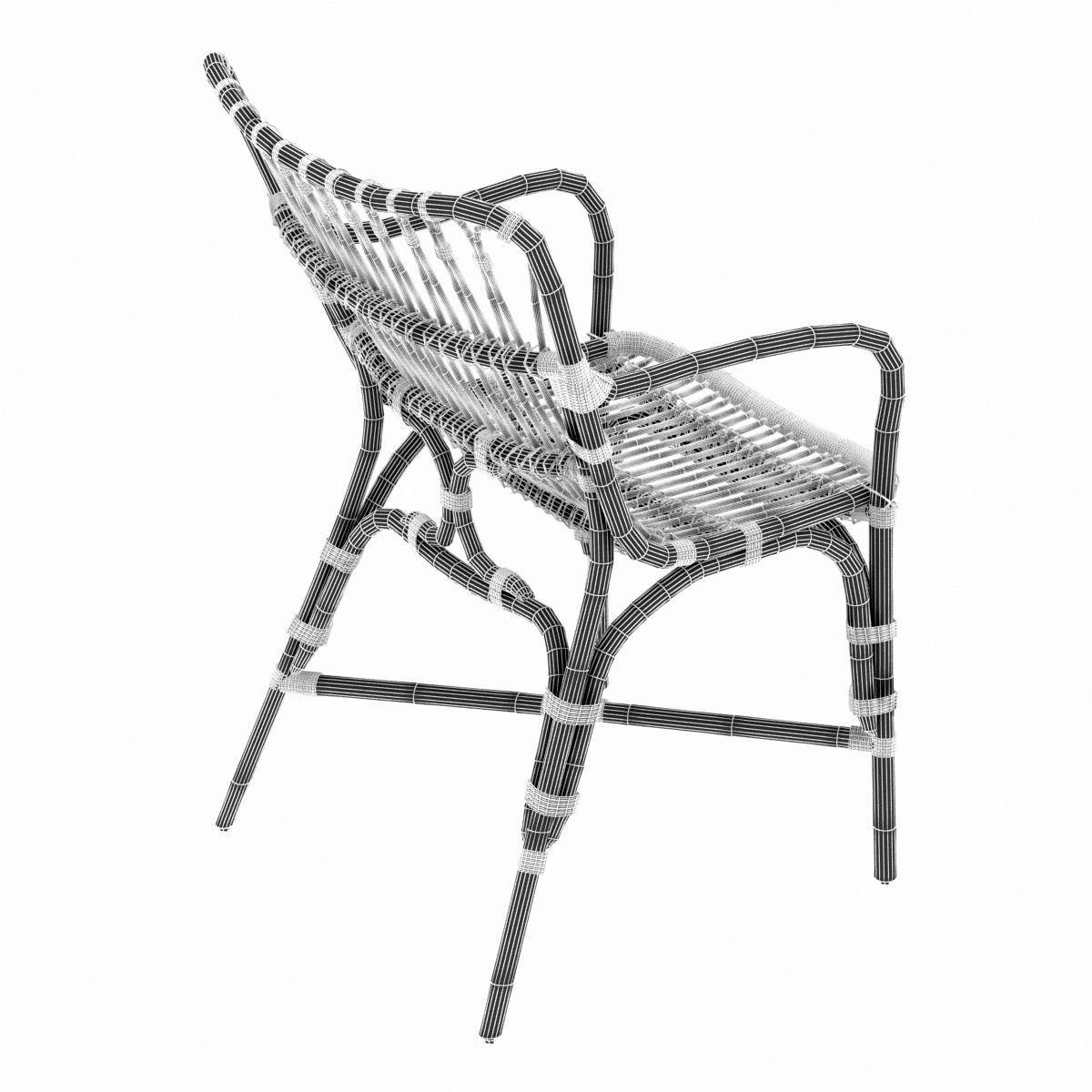 retro rattan dining arm chair 3d model  max  obj  3ds  fbx