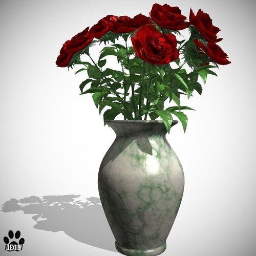 Roses in Vase3D model