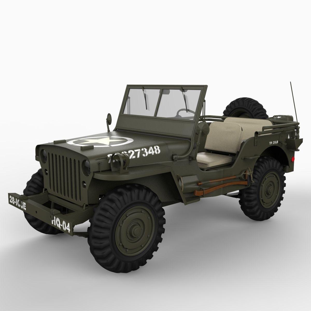 realistic willys jeep 3d model max obj 3ds c4d lwo lw lws ma mb. Black Bedroom Furniture Sets. Home Design Ideas