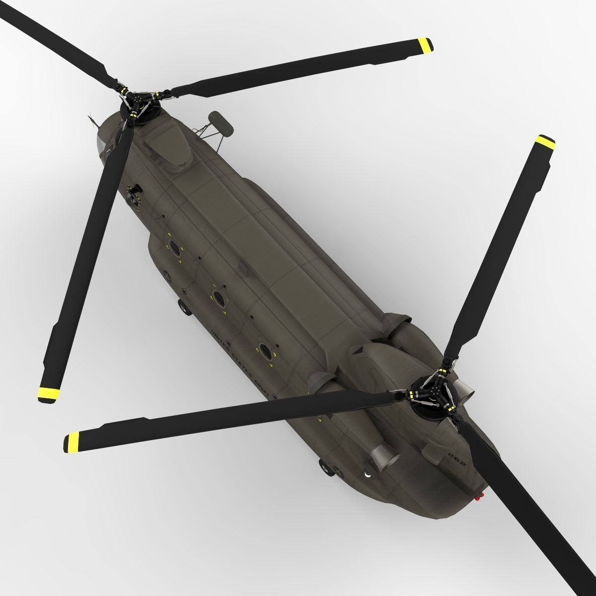 Ch47 Chinook Helicopter Prerigged For Craf 3d Model