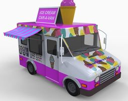 Realistic Ice Cream Truck 3D Model