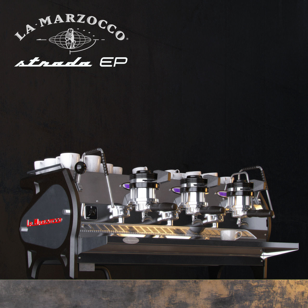 la marzocco strada coffee machine 3d model max obj 3ds. Black Bedroom Furniture Sets. Home Design Ideas