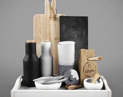 3d kitchen decorative coffee tea set