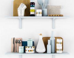 Kitchen scandinavian decorative set 3D model