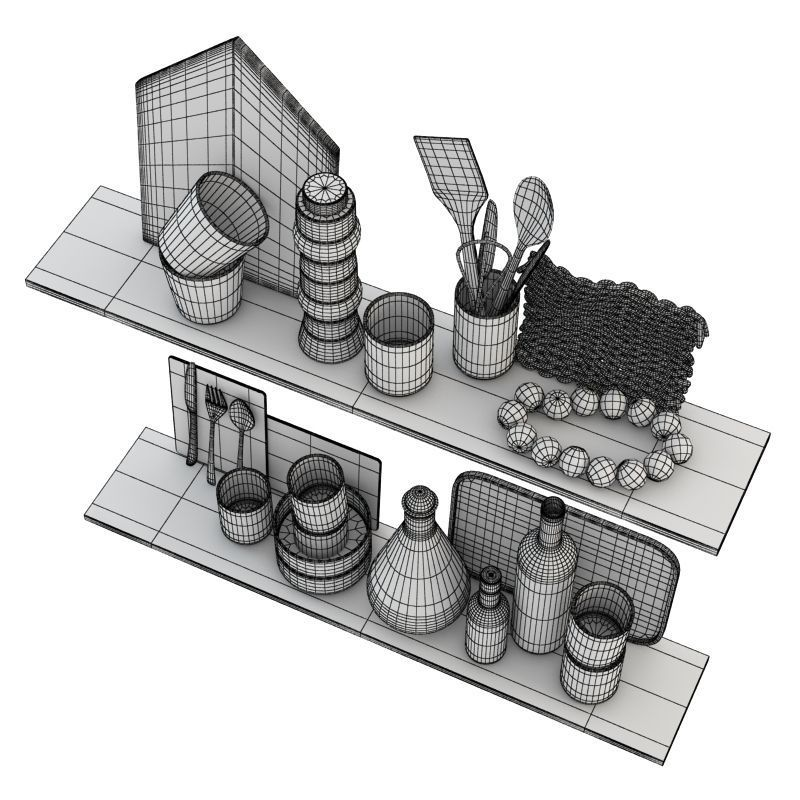 Kitchen scandinavian decorative set 3d model max obj 3ds for Kitchen set 3ds max