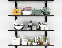 3D Shelves with different dishes