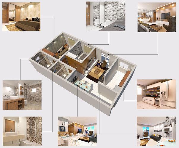 Modern apartment 3d model skp for Living in a model apartment