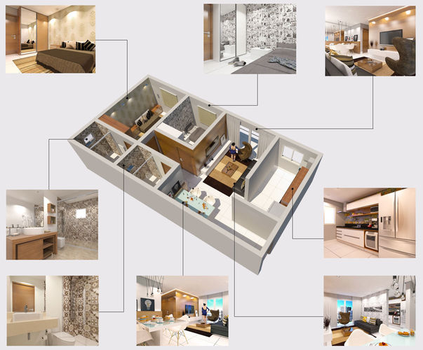 Modern apartment 3d model skp for Apartment 3d model