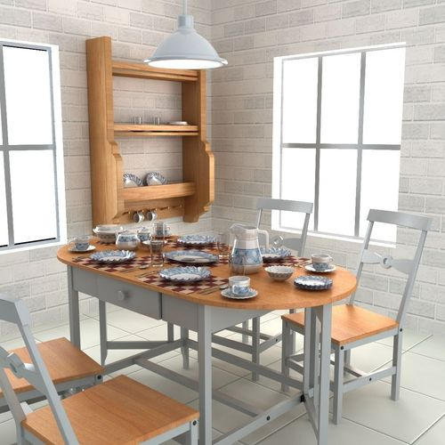 Tableware with Table and Chairs3D model