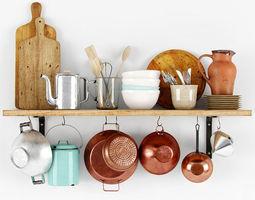 Shelf with bakeware 3D Model