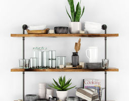 Shelves with kitchenware and plants 3D Model