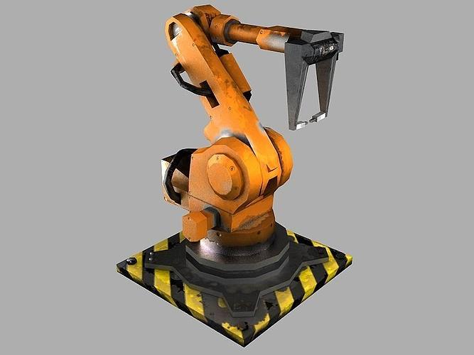robot arm 3d model low-poly obj mtl fbx ma mb stl tga 1