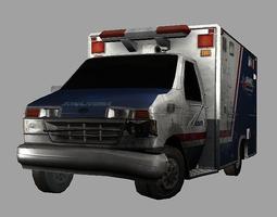 VR / AR ready ambulance crashed 3d model