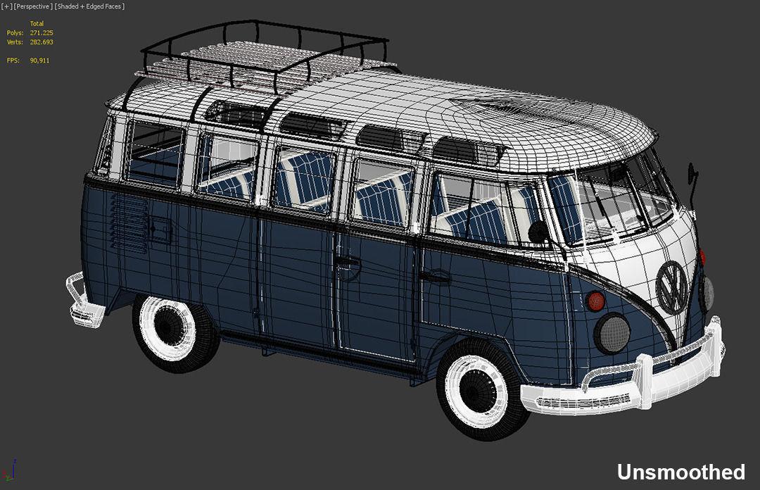 vw bus t1 samba 3d model max obj fbx. Black Bedroom Furniture Sets. Home Design Ideas