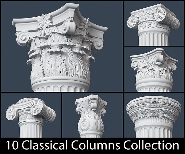 10 classical columns collection 3d model obj mtl 1