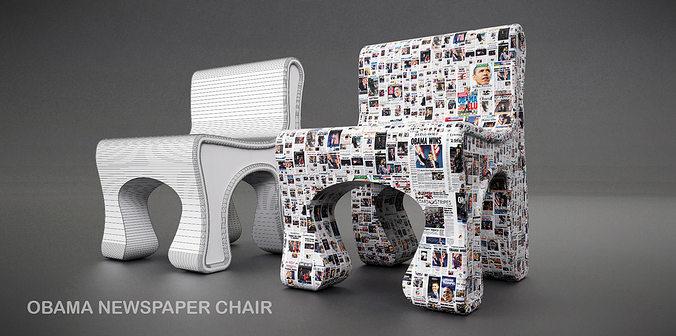 obama news chair 3d model obj mtl dae skp 1
